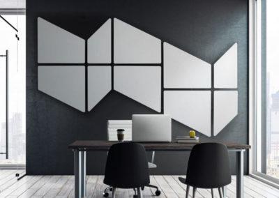 Solution acoustique murale géométrique