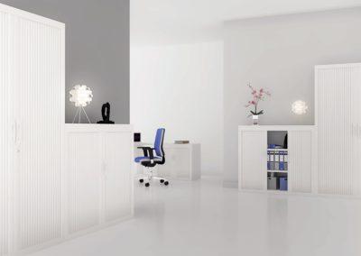 espace bureau + rangement avec armoire à rideau