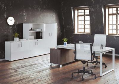 bureau direction minimaliste blanc et bois
