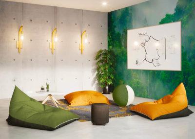 espace détente avec coussin pouf chaleureux