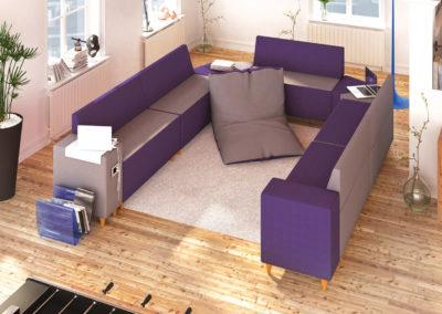 espace détente entreprise canapé + coussin